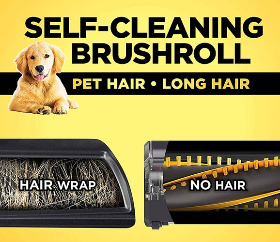 Self-Cleaning BrushRoll For Long Hair